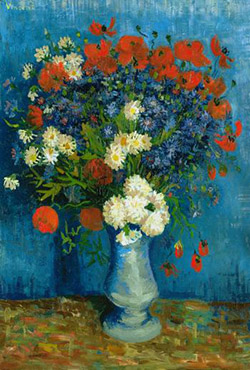 Vase with Cornflowers and Poppies Van Gogh - Wooden Jigsaw Puzzle