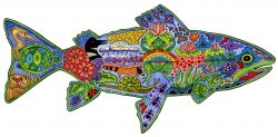 Sue Coccia Rainbow Trout wooden jigsaw puzzle