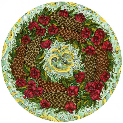 Pinecone and Pomegranate Wreath - Liberty Puzzles - 5