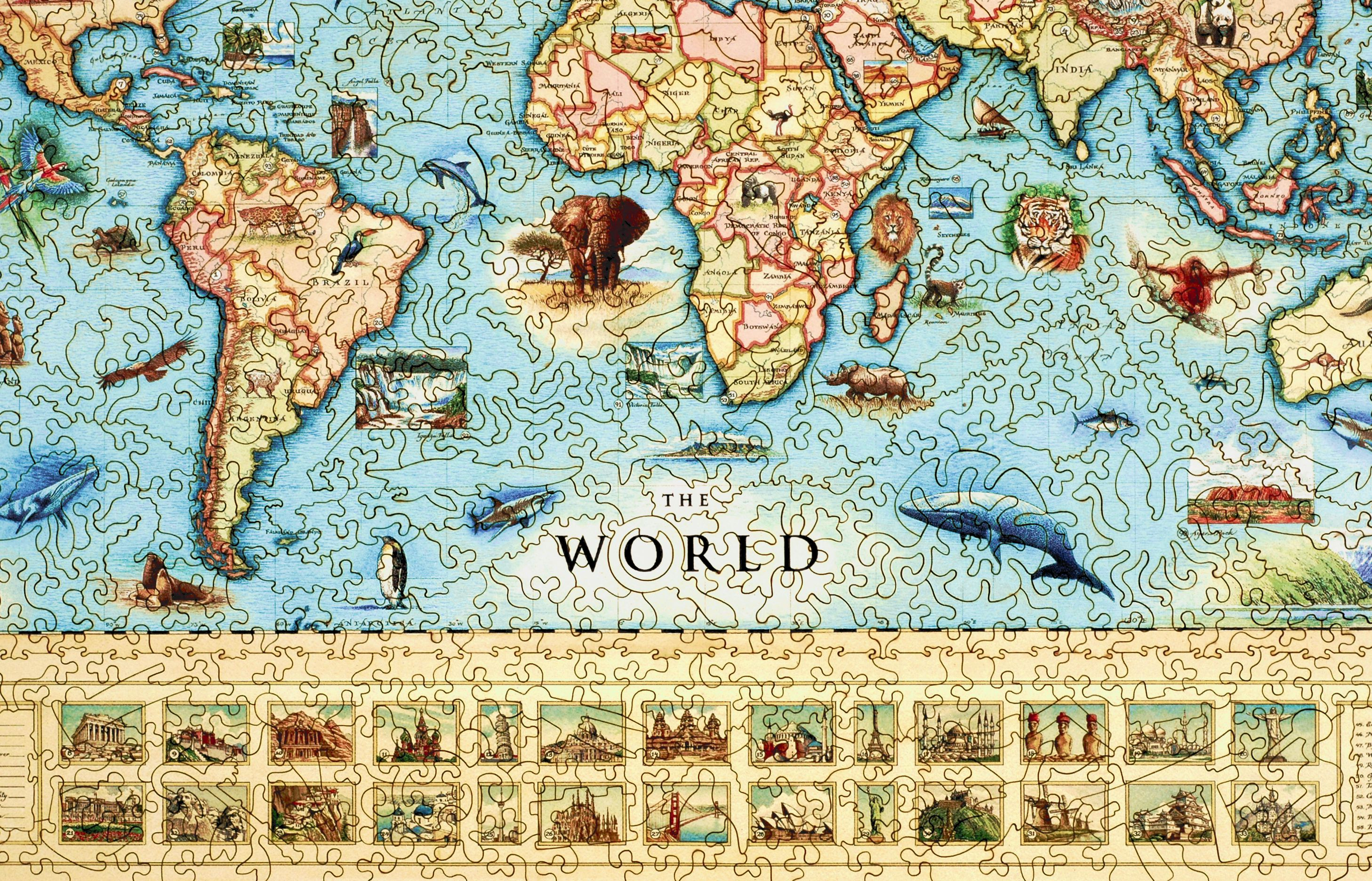 The world map wooden jigsaw puzzle liberty puzzles made in the usa the world map liberty puzzles 8 gumiabroncs Choice Image