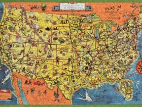 The Greyhound Lines Map Of The United States Wooden Jigsaw - Puzzle us map