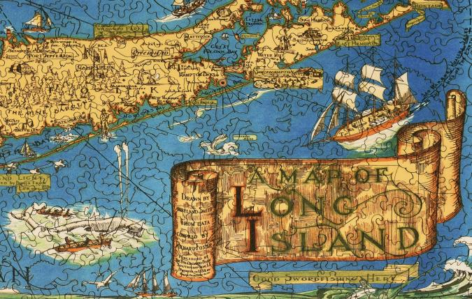 map of long island - wooden jigsaw puzzle