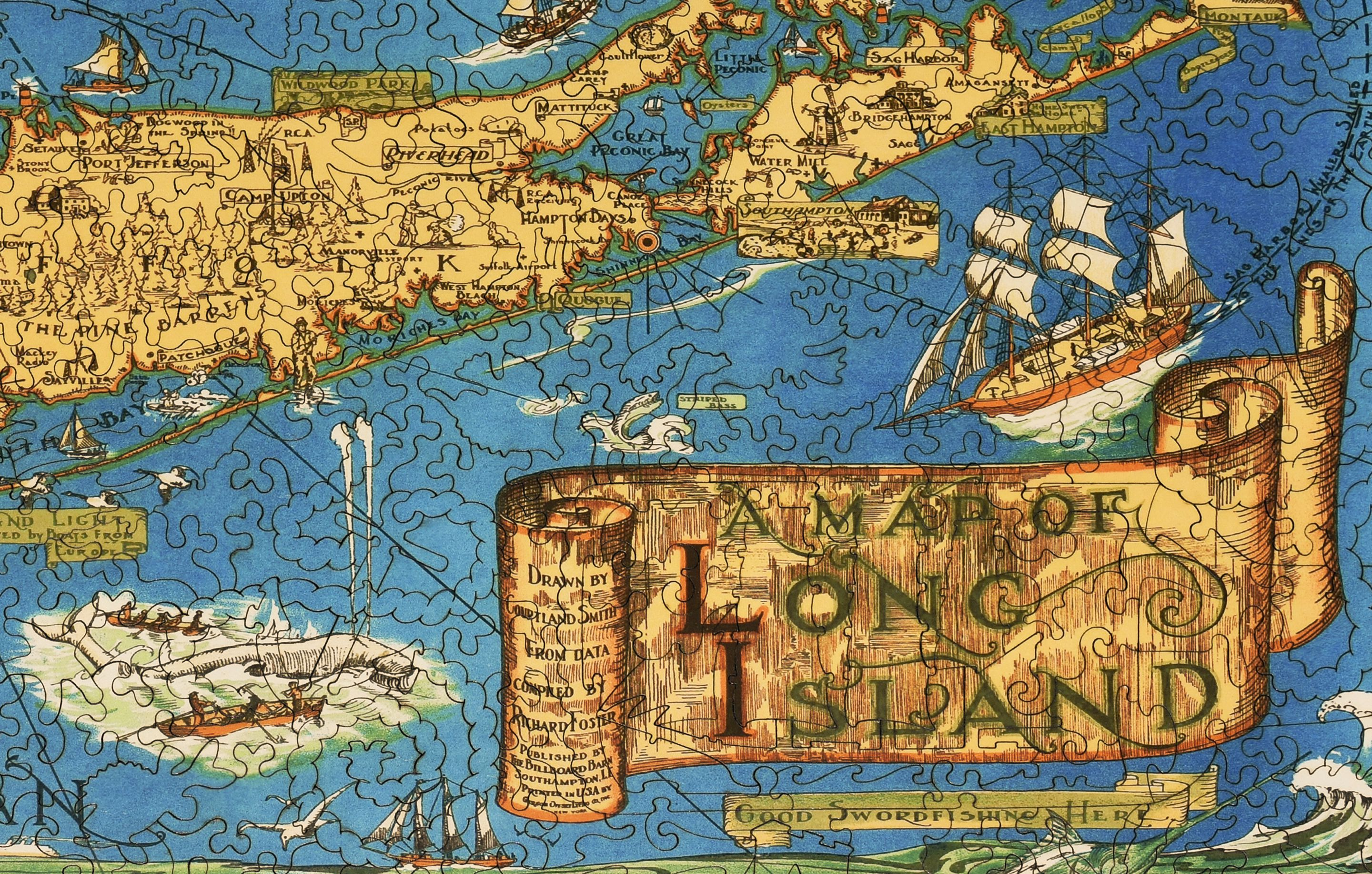 Map Of Long Island Wooden Jigsaw Puzzle Liberty