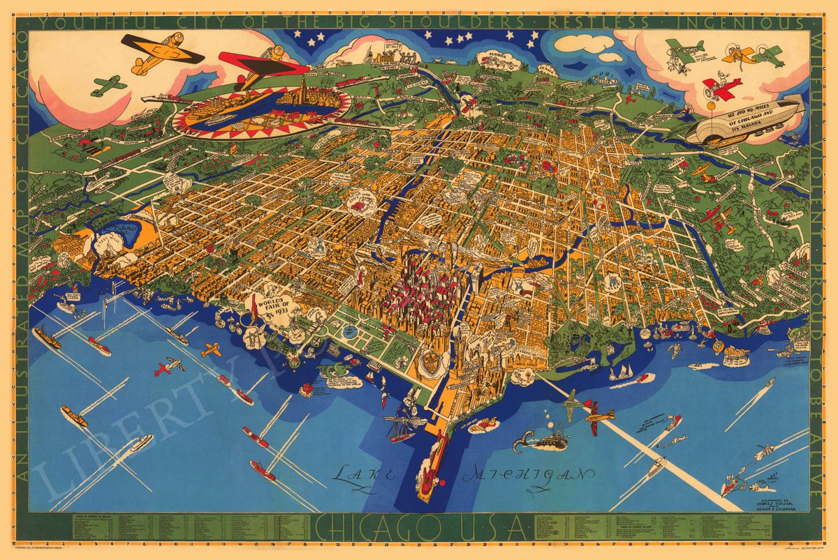 An Illustrated Map of Chicago   Wooden Jigsaw Puzzle   Liberty