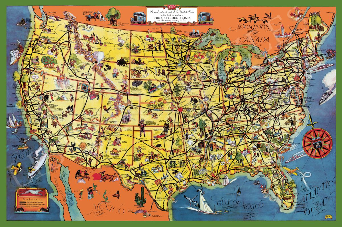 Map Of The The United States.The Greyhound Lines Map Of The United States