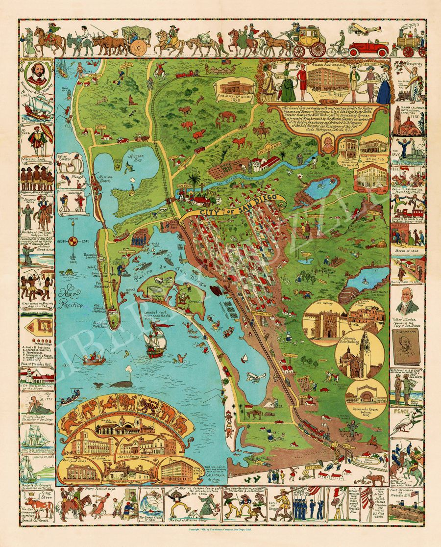 A Whimsical Map of San Diego - Wooden Jigsaw Puzzle - Liberty ...