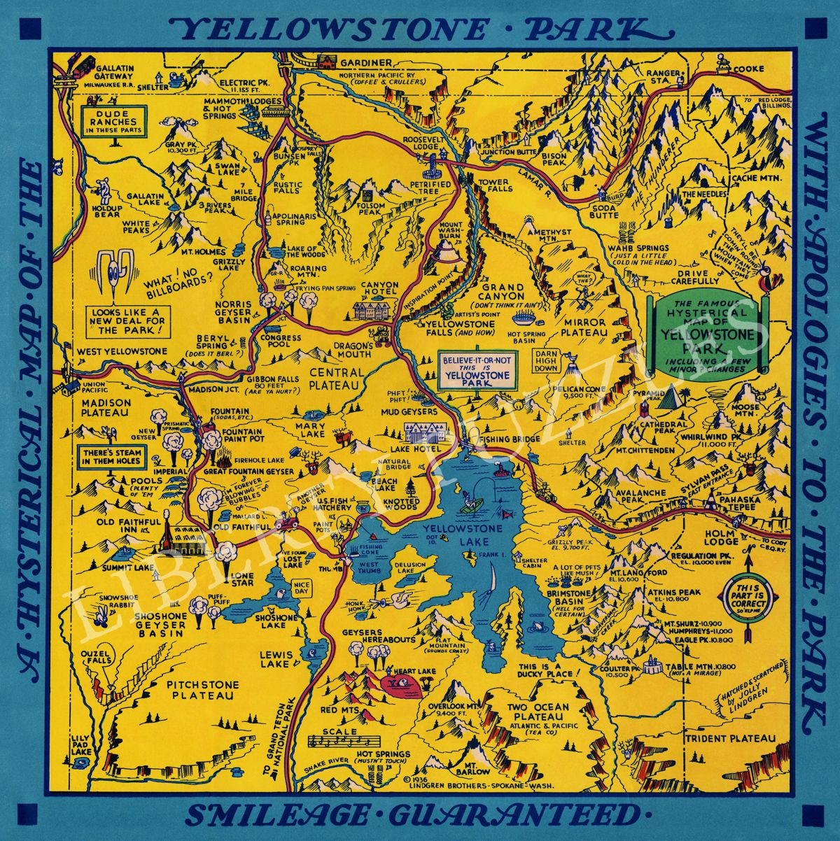 Hysterical Map of Yellowstone Park