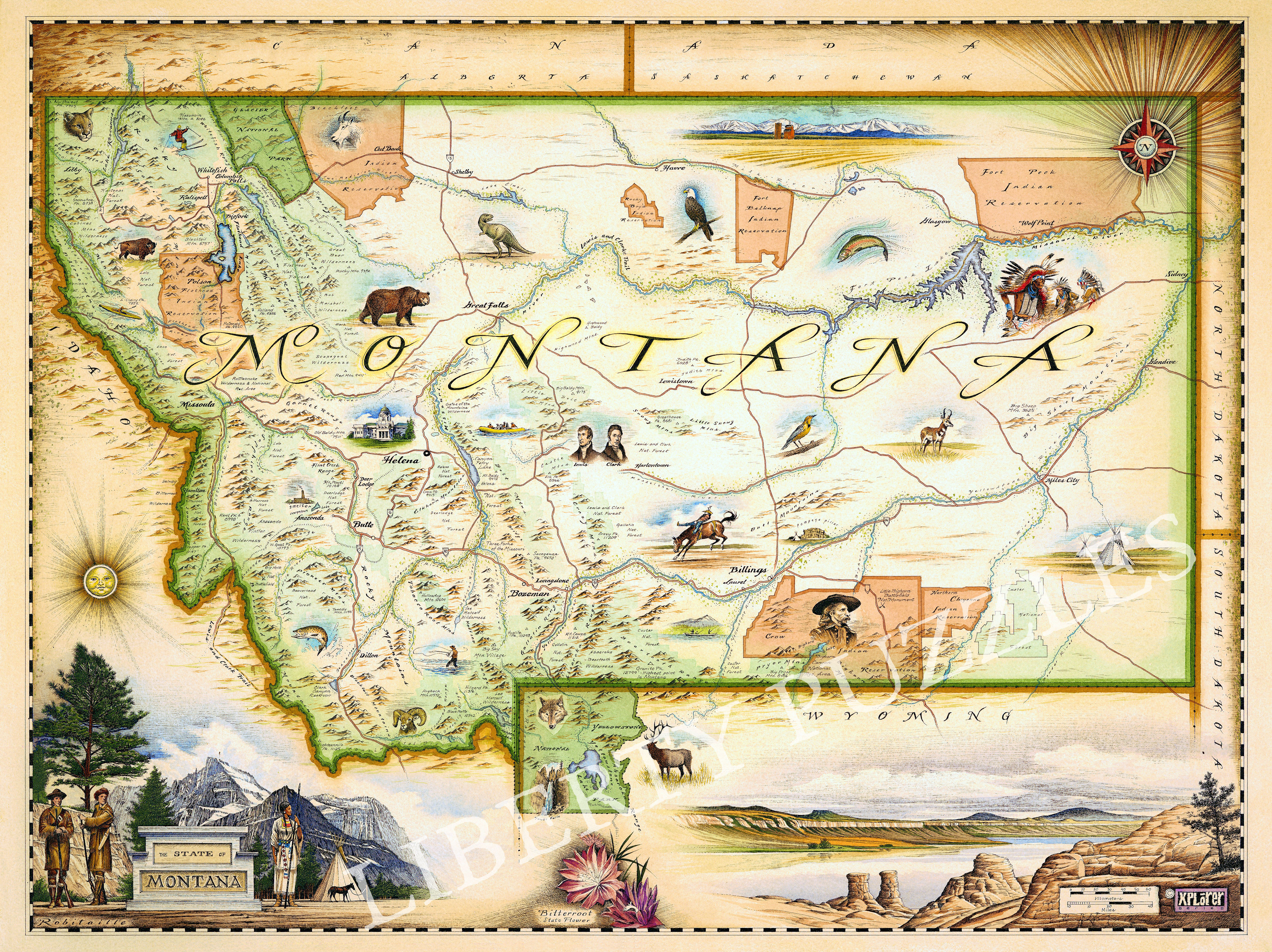 Montana Map - Wooden Jigsaw Puzzle - Liberty Puzzles - Made in the USA