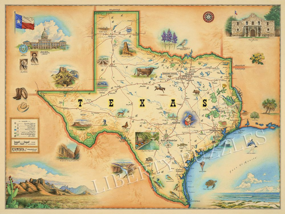 Texas Map - Wooden Jigsaw Puzzle - Liberty Puzzles - Made in the USA