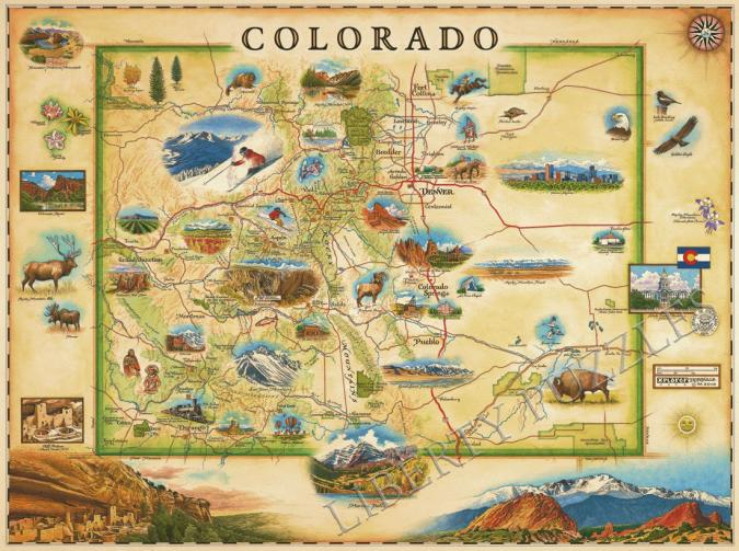 Colorado Xplorer Map Wooden Jigsaw Puzzle Liberty Puzzles Made In The Usa