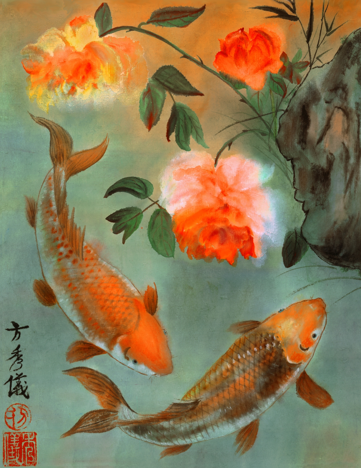 Two koi wooden jigsaw puzzle liberty puzzles made in for Koi artwork