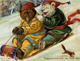 Tobogganing in the Snow - Liberty Puzzles - 1