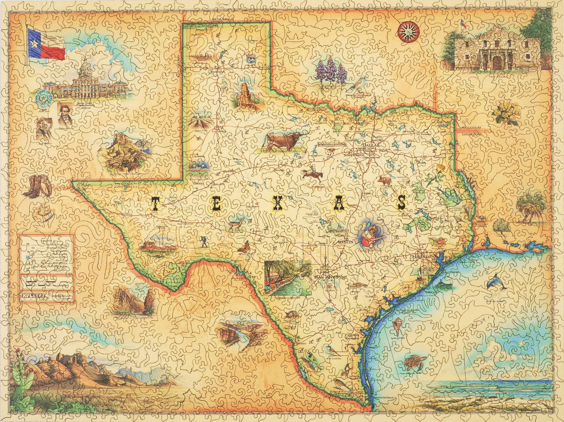 Texas Map Wooden Jigsaw Puzzle Liberty Puzzles Made In The USA - Trxas map