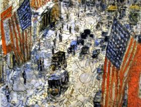 Flags on 57th Street, Winter 1918 - Liberty Puzzles - 2