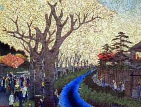 Blossoms on the Tama River Embankment - Liberty Puzzles - 2