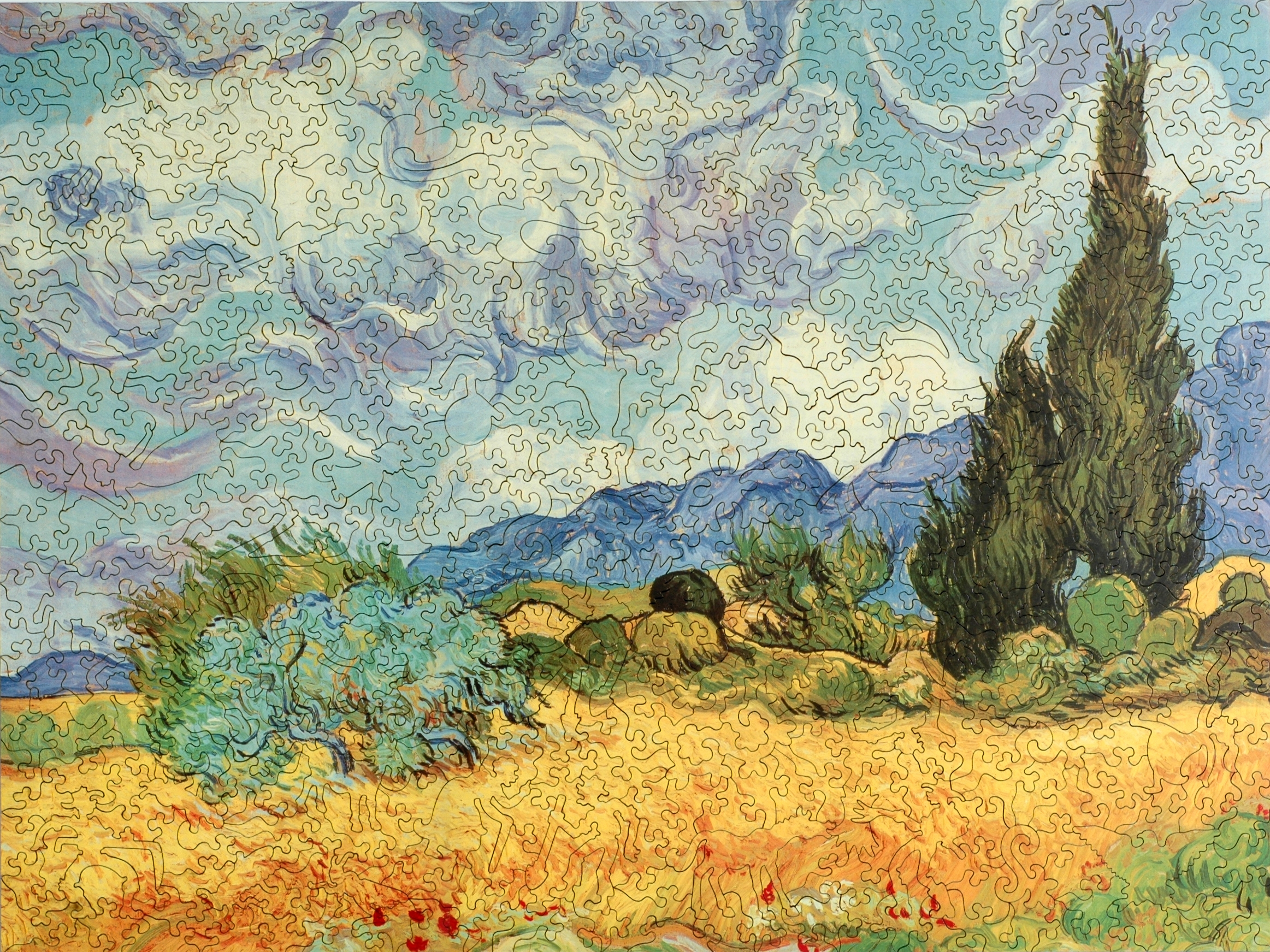 Wheat Field With Cypresses Wooden Jigsaw Puzzle