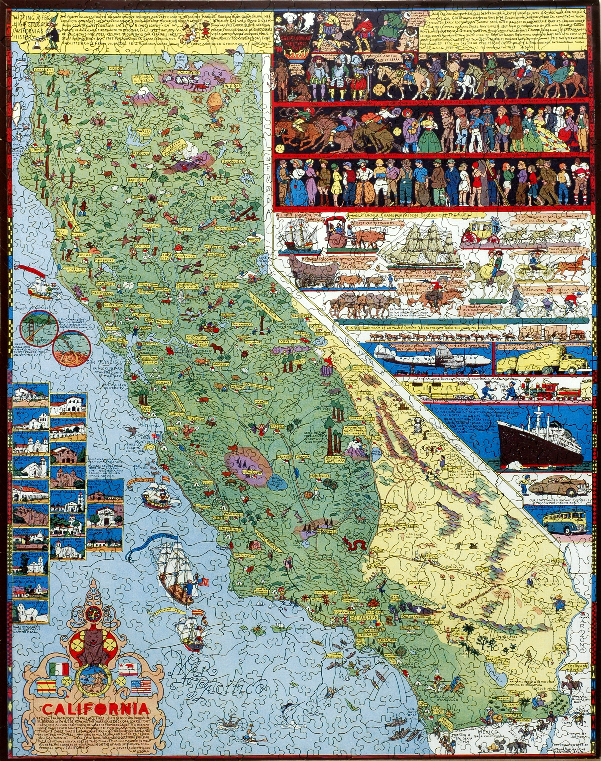 California   Wooden Jigsaw Puzzle   Liberty Puzzles   Made in the USA
