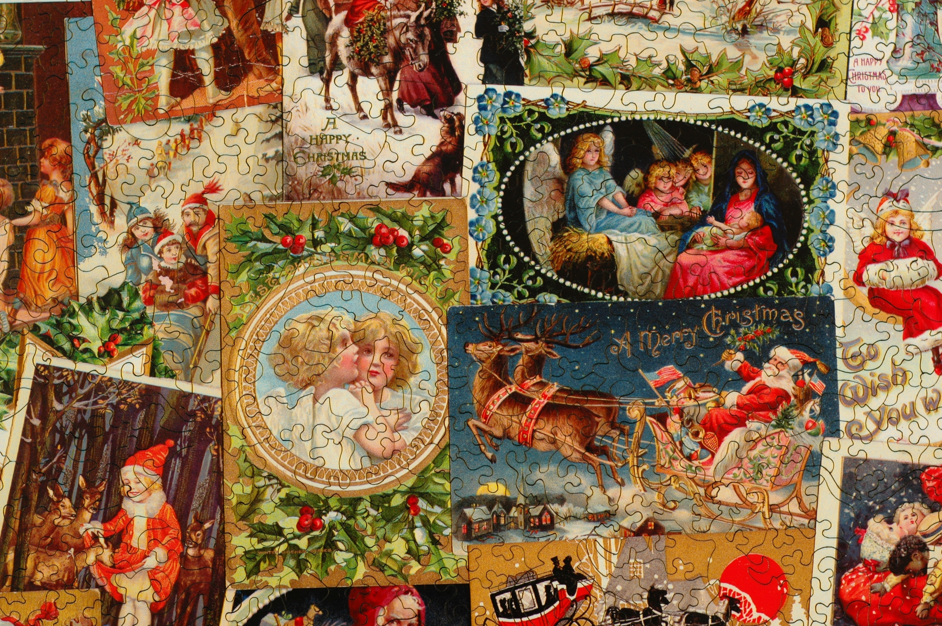 Vintage Christmas Postcards Wooden Jigsaw Puzzle
