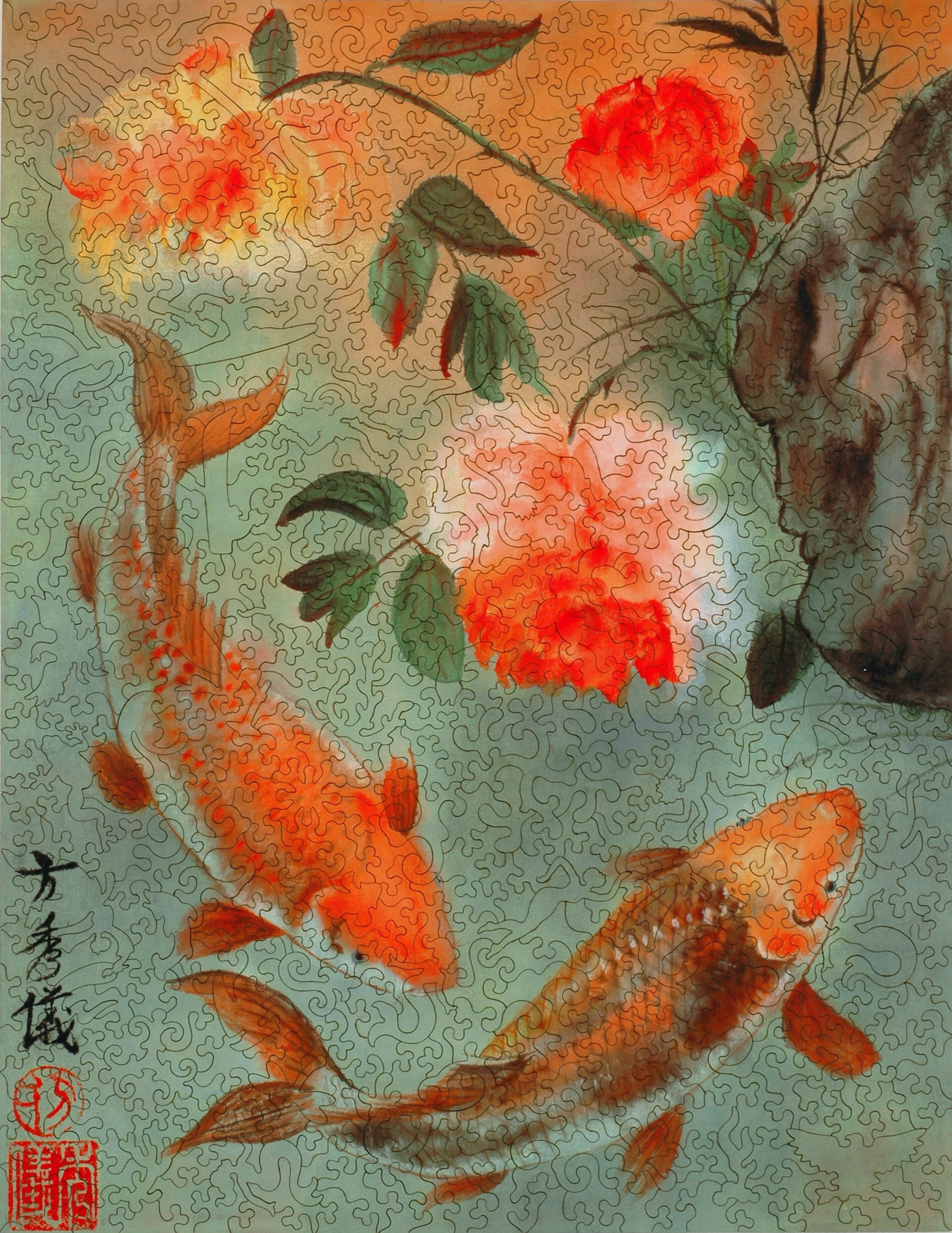 Two Koi Wooden Jigsaw Puzzle Liberty Puzzles Made In