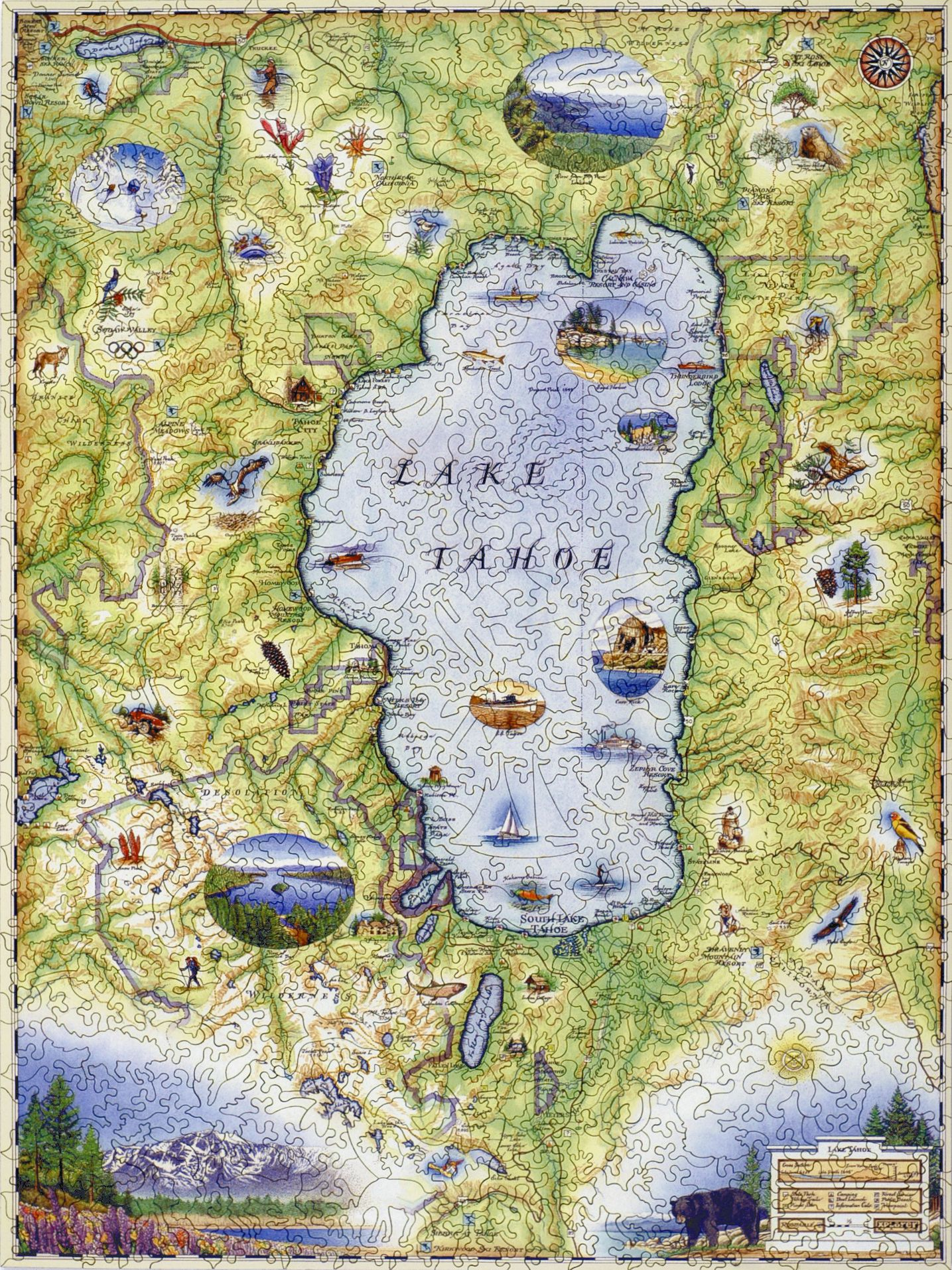 Lake Tahoe Map Wooden Jigsaw Puzzle Liberty Puzzles