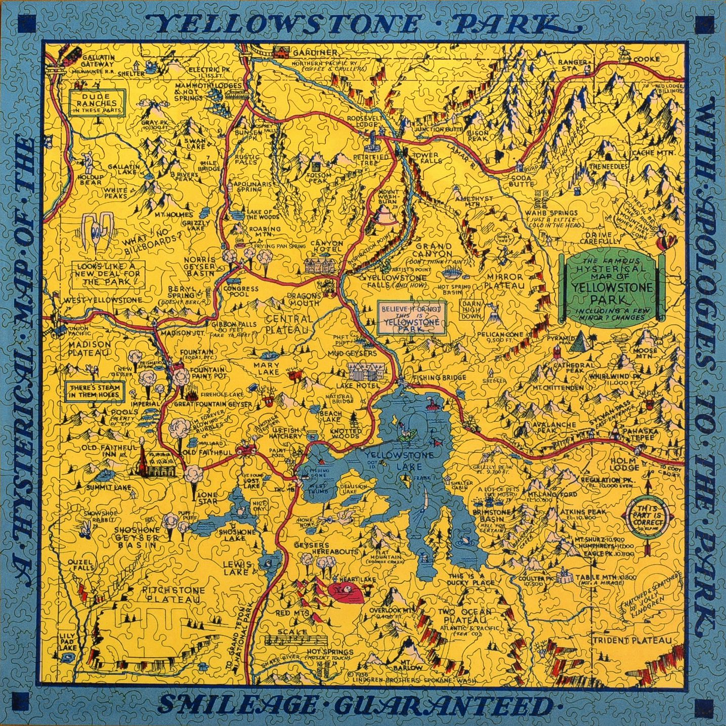 Hysterical map of yellowstone park wooden jigsaw puzzle liberty hysterical map of yellowstone park liberty puzzles 7 gumiabroncs