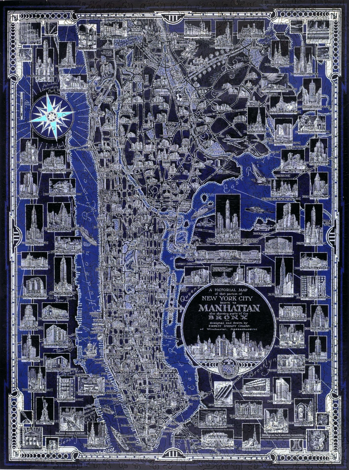 New York City Pictorial Map Wooden Jigsaw Puzzle Liberty Puzzles