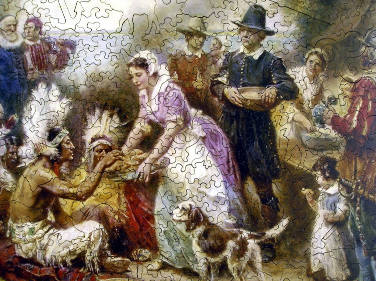 The First Thanksgiving 1621 Wooden Jigsaw Puzzle
