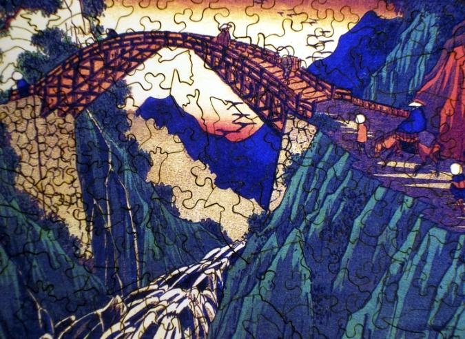 Distant View of the Bridge over the Ina River at Nojiri - Liberty Puzzles - 8