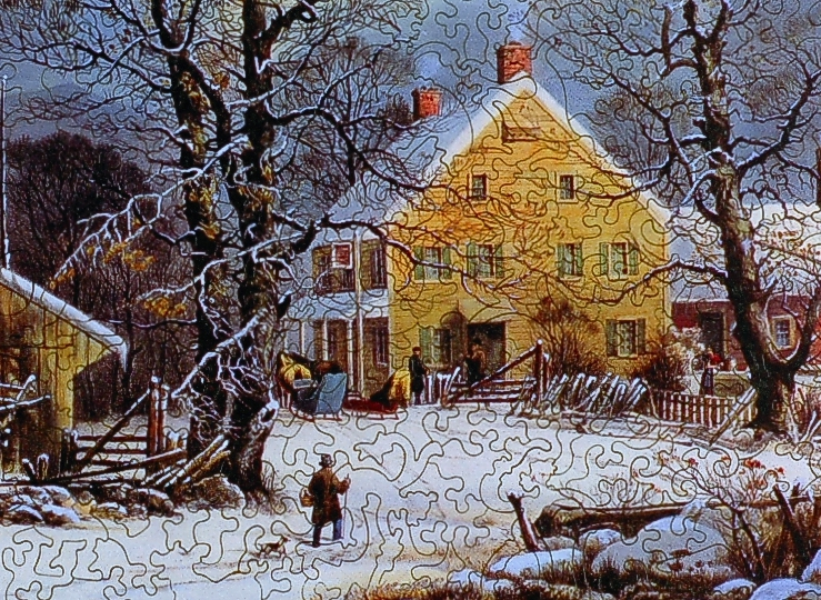 Winter In The Country A Cold Morning Wooden Jigsaw