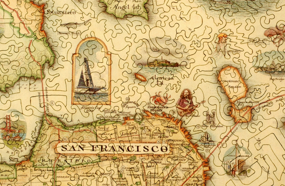 San Francisco Bay Map Wooden Jigsaw Puzzle Liberty Puzzles