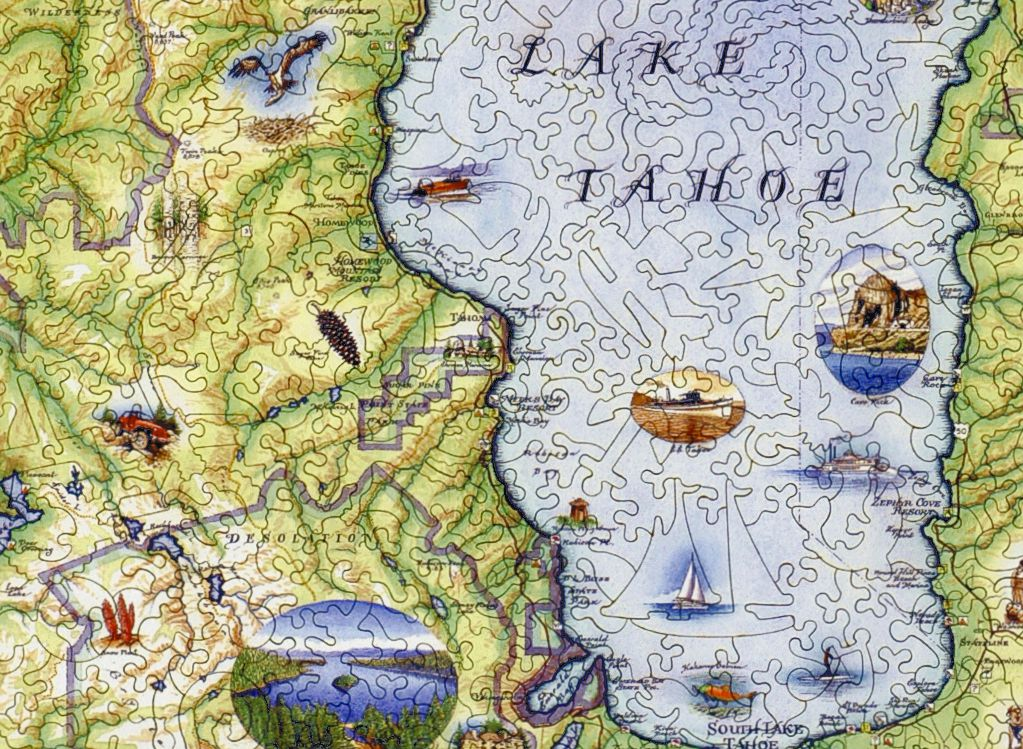 Lake Tahoe Map - Wooden Jigsaw Puzzle - Liberty Puzzles - Made in ...