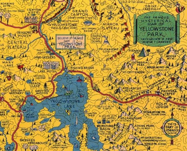 Hysterical Map of Yellowstone Park - Liberty Puzzles - 8
