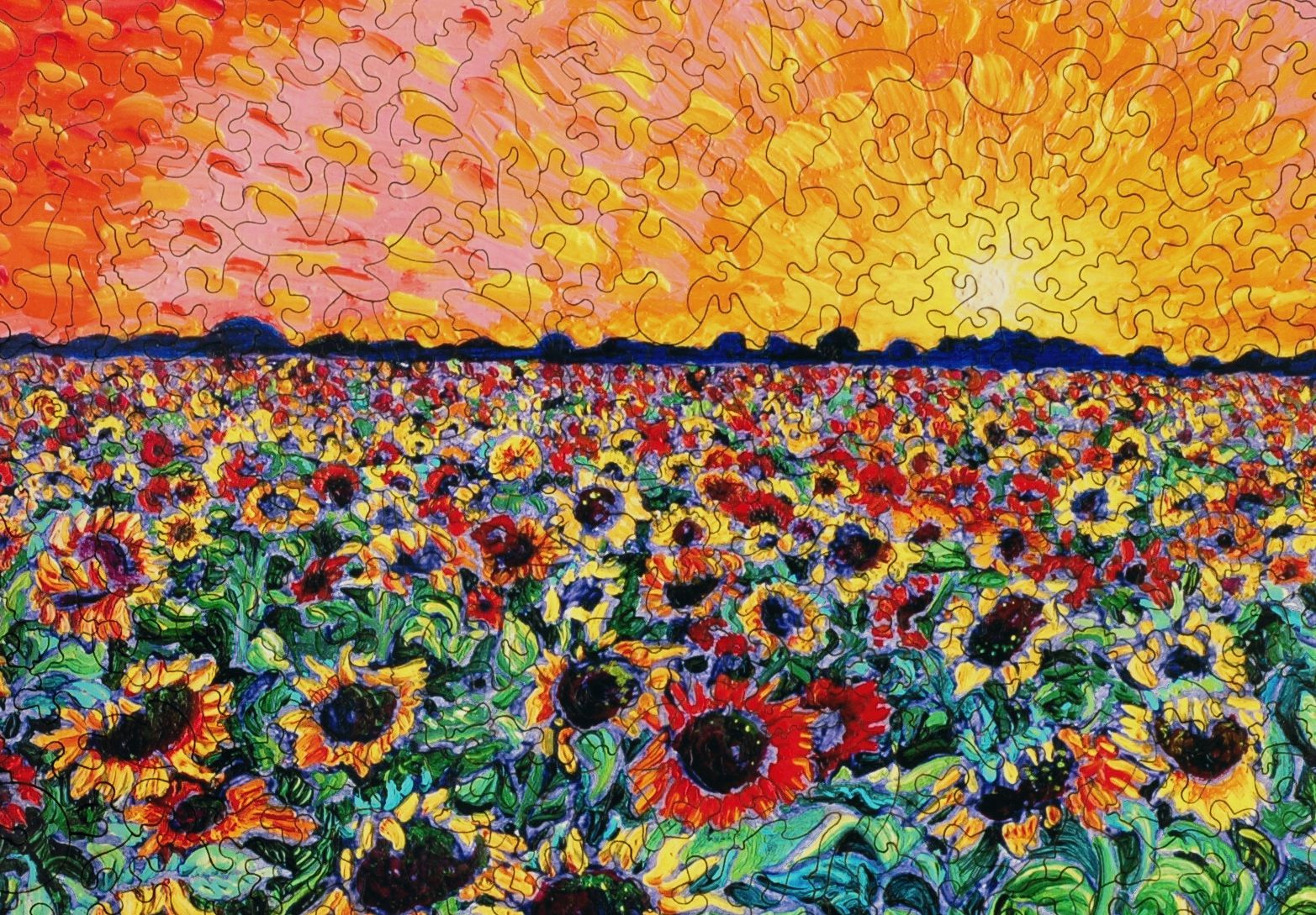 sunflower splatter paint wooden jigsaw puzzle liberty puzzles