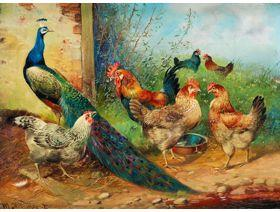 Hens and Peacock - Wooden Jigsaw Puzzle