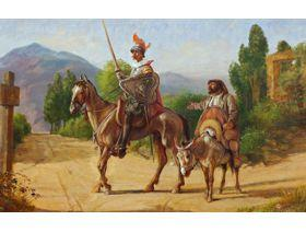 Don Quixote and Sancho Panza at a Crossroads - Wooden Jigsaw Puzzle