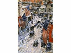 Flags on 57th Street, Winter 1918 - Wooden Jigsaw Puzzle