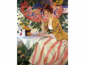 Red-Headed Girl with Parasol - Wooden Jigsaw Puzzle