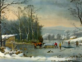 Winter in the Country: Gathering Ice - Wooden Jigsaw Puzzle