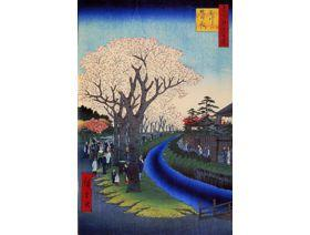 Blossoms on the Tama River Embankment - Wooden Jigsaw Puzzle