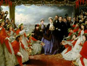 The Landing of HRH The Princesss Alexandra at Gravesend - Wooden Jigsaw Puzzle