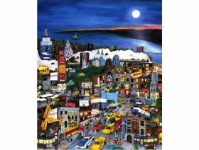 Moonlight Over Manhattan - Wooden Jigsaw Puzzle