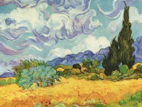 Wheat Field with Cypresses - Wooden Jigsaw Puzzle