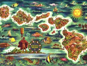 Dole Map of the Hawaiian Islands - Wooden Jigsaw Puzzle