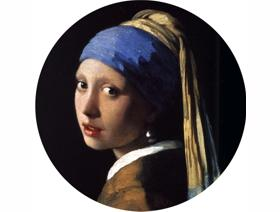 Girl with a Pearl Earring round - Wooden Jigsaw Puzzle