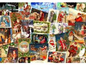 Vintage Christmas Postcards - Wooden Jigsaw Puzzle