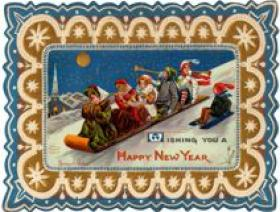 New Year's Toboggan - Wooden Jigsaw Puzzle