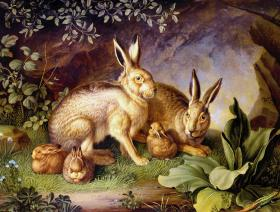 Hares and Leverets in a Rocky Lair - Wooden Jigsaw Puzzle