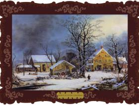 Winter in the Country, A Cold Morning - Wooden Jigsaw Puzzle