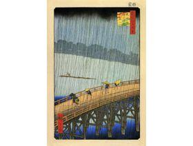 Sudden Shower at the Atake Bridge - Wooden Jigsaw Puzzle