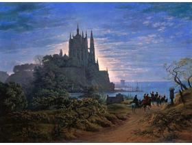 Gothic Church on a Rock by the Sea - Wooden Jigsaw Puzzle